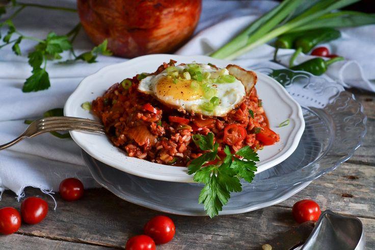 Reis, gebraten, Kimchi, Spiegelei, Ei, Eiweiß, Tomaten, fried rice, christina macht was, buch, rezept,