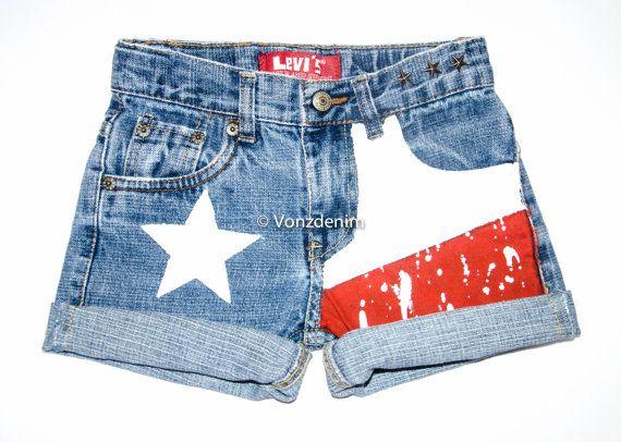 Texas Flag High Waisted Denim Shorts, Levi Vintage Hand Painted Shorts, Texas Flag Studded Shorts, Patriotic Hand Painted Shorts on Etsy, $54.99