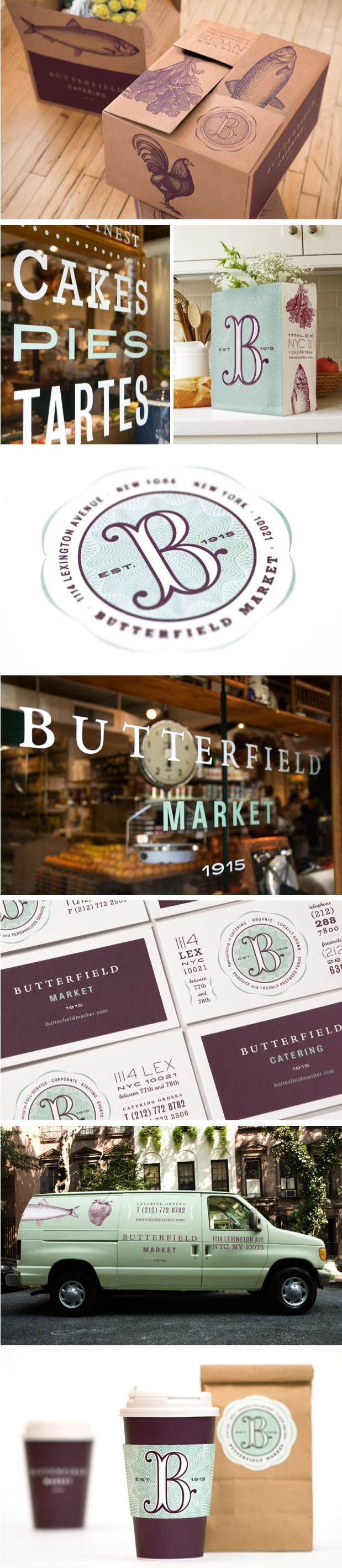 "Hopefully their food is as delicious as these designs. Ew, that was cheesy. ""Butterfield Market Branding."""