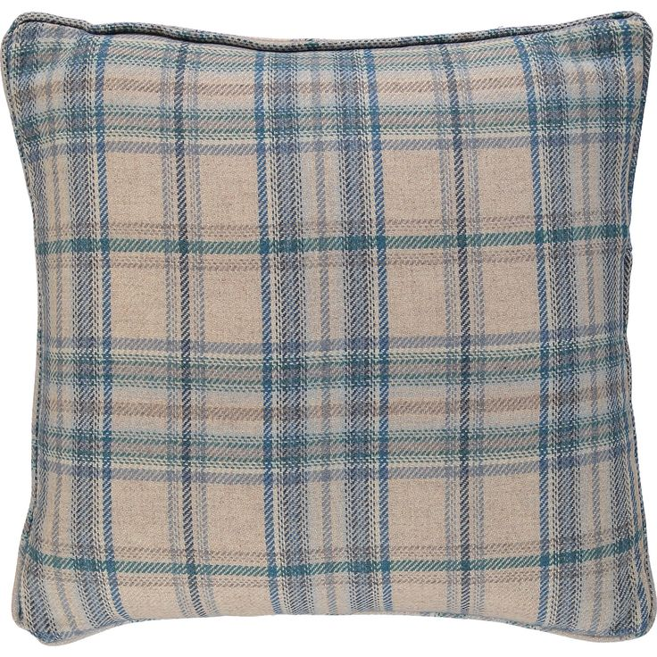 """Voyage Maison"" Blue & Cream Check Wool Cushion 40x40cm - TK Maxx"