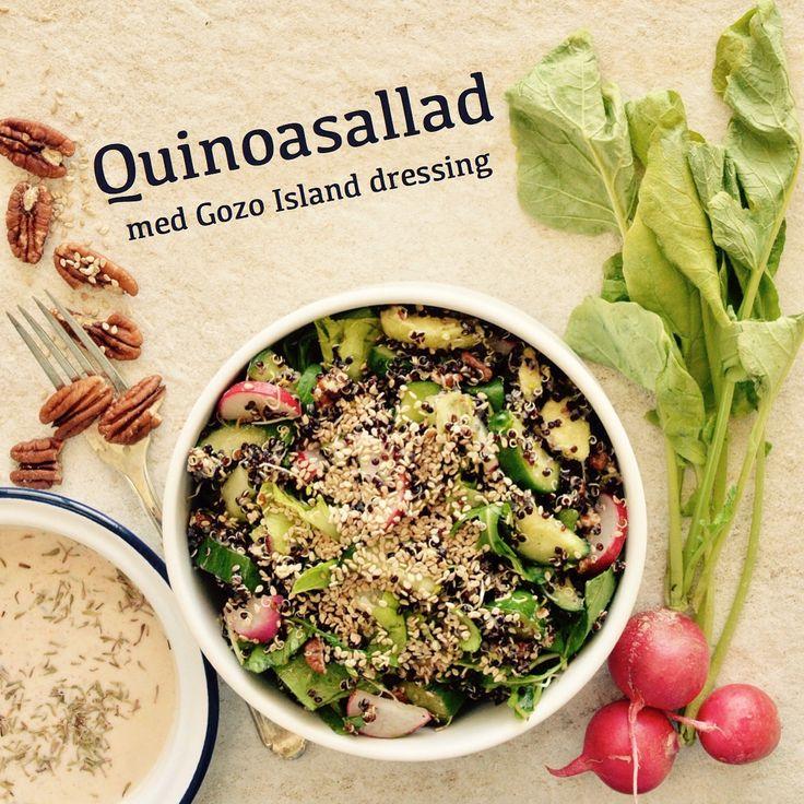 Quinoasallad med Gozo Island dressing. 💚Receptet finns i meny 14.  www.allaater.se