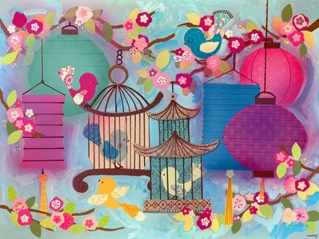 """Asian Birdies"" kids wall decor by Winborg Sisters for Oopsy daisy, Fine Art for Kids $119"