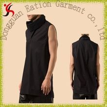 Black cotton tee high standing collar sleeveless cool t shirt custom foldover neck T-shirt  best buy follow this link http://shopingayo.space