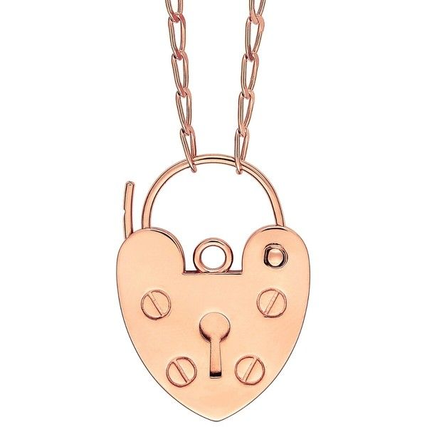 Ginette NY Providence Necklace - Rose Gold ($2,790) ❤ liked on Polyvore featuring jewelry, necklaces, rose, rose necklace, rose gold heart pendant, rose gold pendant, long pendant necklace and lock necklaces
