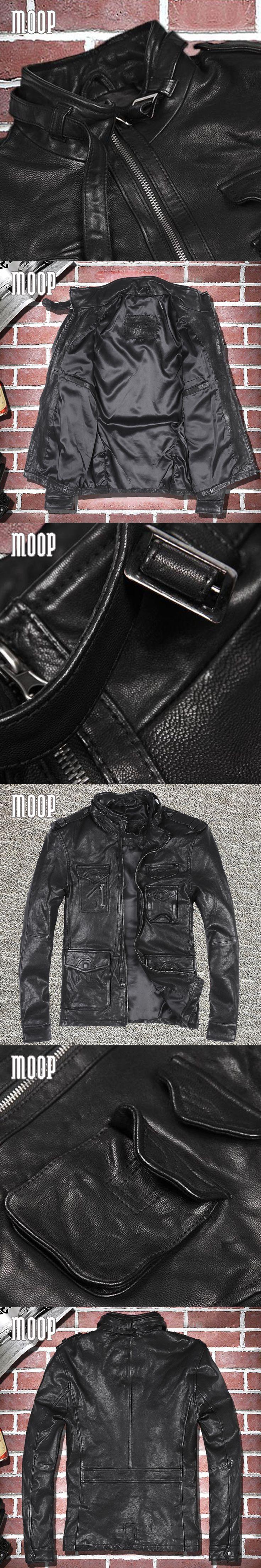 Black genuine leather jacket coat men sheepskin motorcycle jackets chaqueta moto hombre veste cuir homme cappotto LT1080