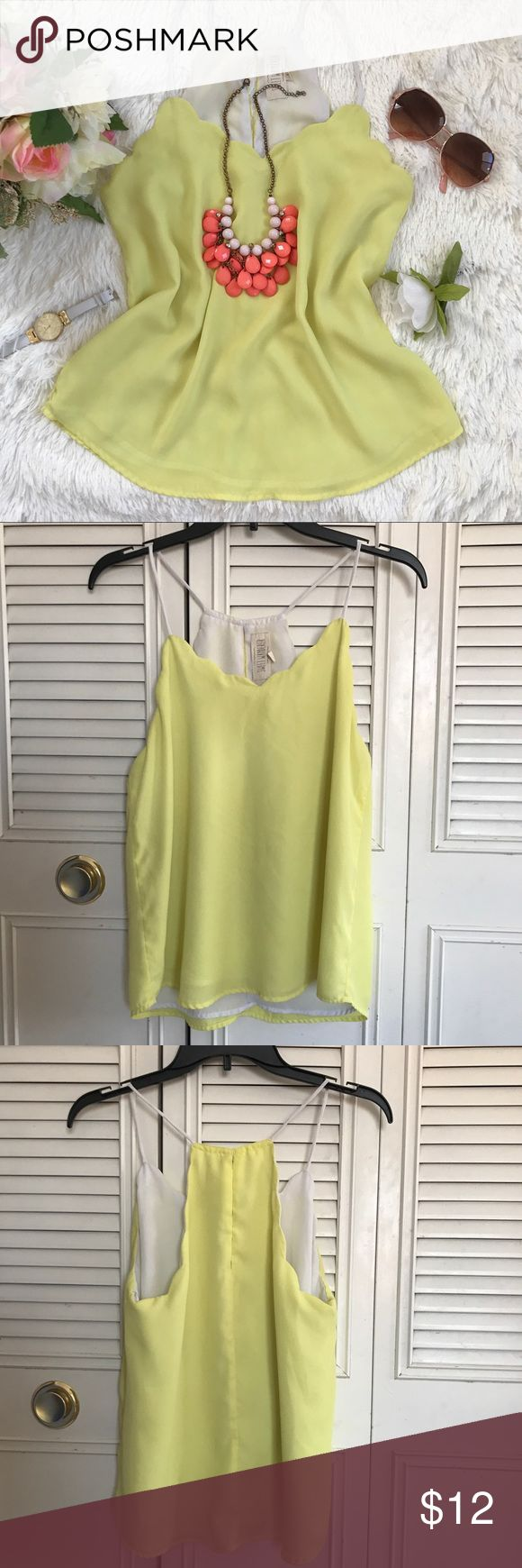 Sweet Wanderer baby yellow tank top This cute women's tank top is come in a baby yellow color. Size S, true to size. The traps are not adjustable. There is a little pen mark on the front of the tank top. See the last picture. Worn once, still in good condition.   Material: 100% Polyester  Don't afraid to make an offer. Best offer accept. Sweet Wanderer Tops Tank Tops