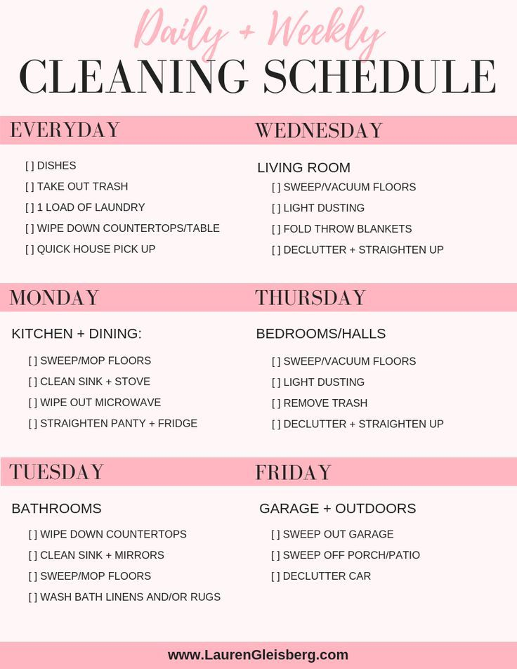 Daily House Cleaning Schedule Checklist Weekly Cleaning