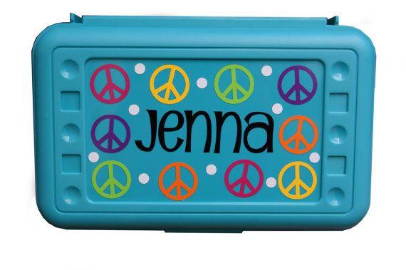 BACK TO SCHOOL - Personalized Pencil Box / Art Supply Box - Peace