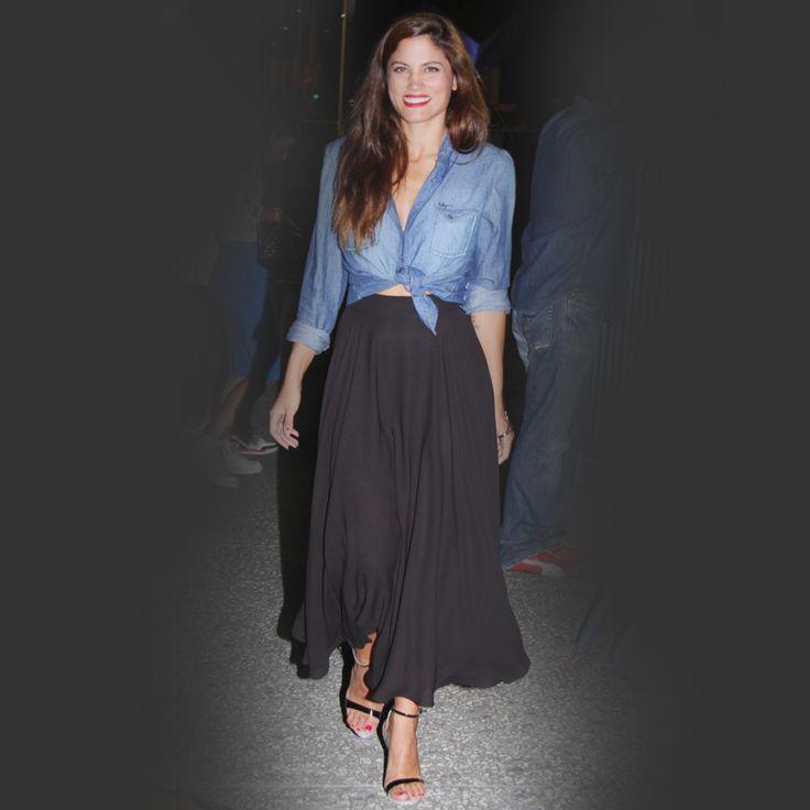 Mary Sinatsaki knows how to wear #DENIM items with a twist! No doubt.
