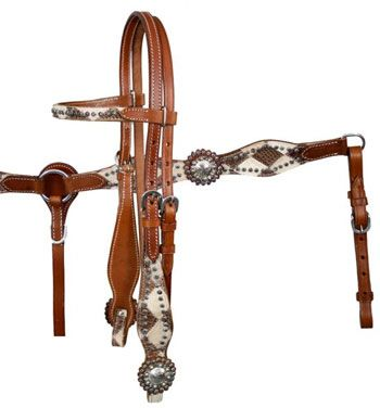 Showman Double Stitched Cowhide & Gator Print Leather Headstall, Breast Collar & Reins Set | ChickSaddlery.com