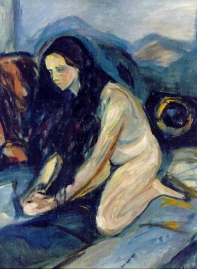 """Edvard Munch (1863-1944) was een Noorse kunstschilder. e situatie in het gezin waarin hij opgroeide en de algemene toestand in de Noorse hoofdstad waren de oorsprong van Munchs leed. Confrontaties met ziekte en dood lieten in hem de hartstocht voor de kunst ontwaken. Hij zei: """"Ik schilder niet wat ik zie, maar wat ik zag!"""". Het gaat dus om de innerlijke belevenis, een geestelijke onrust."""