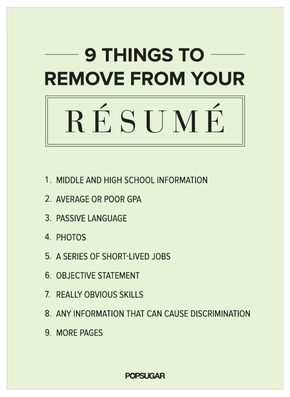 One of the most important things to have when you're job hunting is a killer résumé. After all, if your CV doesn't pass muster, you won't even get a chance to meet face-to-face and let potential employers know why you're the right person for the job. Here are some details you should remove from your résumé: