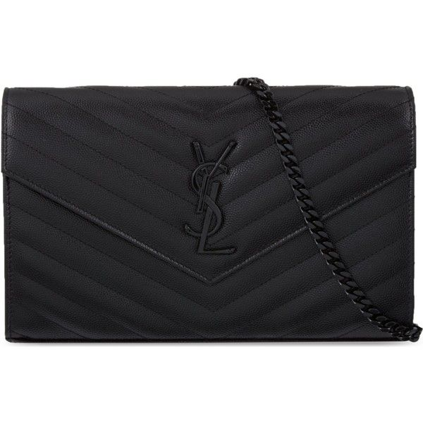 Saint Laurent Monogram quilted leather envelope clutch (£910) ❤ liked on Polyvore featuring bags, handbags, clutches, bolsas, sac, zipper purse, zip purse, shoulder strap purses, envelope clutch bag and chain handbags