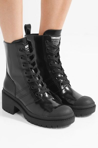 13b37b4e99a Black Patent-Leather Ankle Combat Boots - (ankle combat boots) These black  Marc Jacobs  ankle combat inspired boots are a timeless style that you ll  want to ...