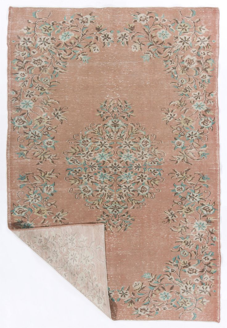 """6'2"""" x 9'2"""" (192 x 283 cm) Turkish Natural Sun Faded Rug, Peach, Turquoise and Brown by ZorlusShop on Etsy"""