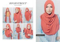 HIGHSTREET Hijab Tutorial Featuring TudungPeople Numa Luxe 2.0 Hijab in Salmon