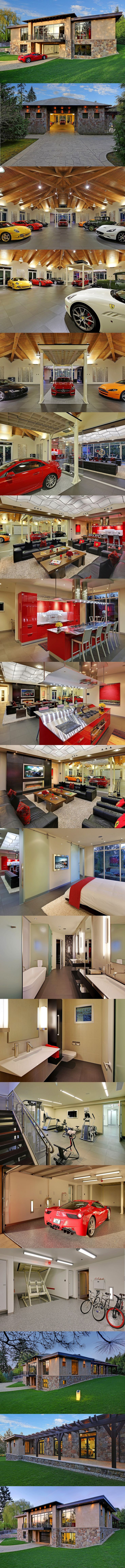 Incredible auto-enthusiast mansion with 16 car garage and built-in car elevator. Ferrari 458, Audi R8, Porsche 911 Turbo, Aston Martin V8 Vantage, Mercedes AMG. Bellevue, Washington