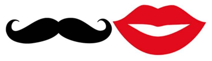 Irresistible image with printable mustache and lips