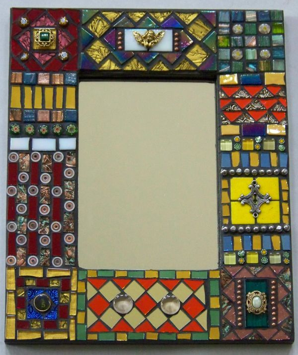 Mosaic Glass & Found Object Mirror Frame #M1122 - Pictify - your ...