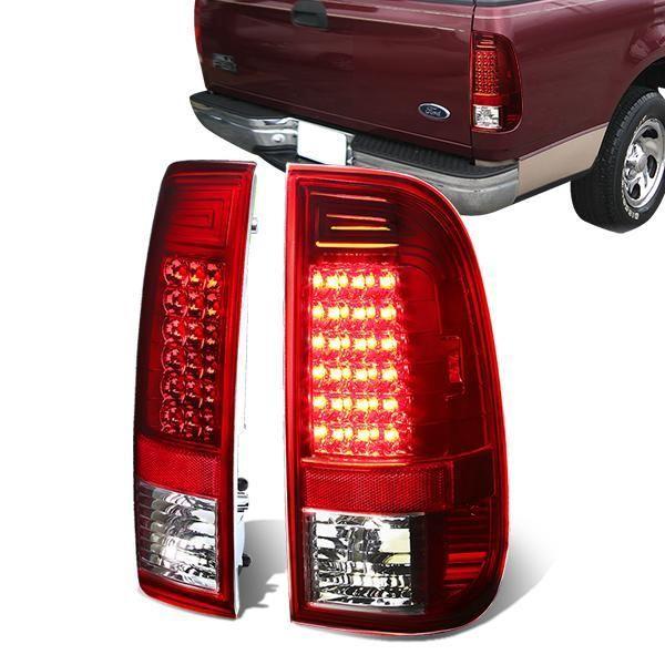 D Motoring 97 07 Ford F 150 F 250 F 350 Tail Lights Led Chrome Housing Clear Lens Plug N Play Pair Tail Light Ford F150 Led