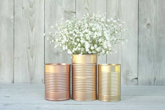3 Painted tins cans. Centerpieces, Steampunk wedding, copper and gold decor. Rose gold, wedding decor. on Etsy, €20.51
