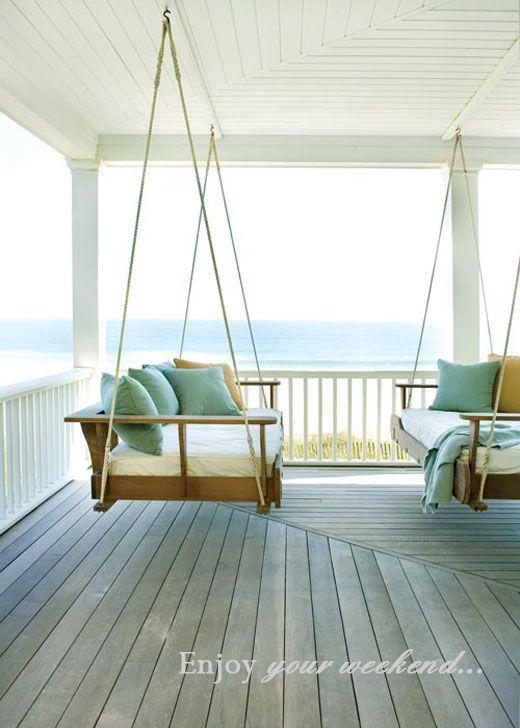 {sigh...} front porch love... beach love... teal ... cream... wood... melting
