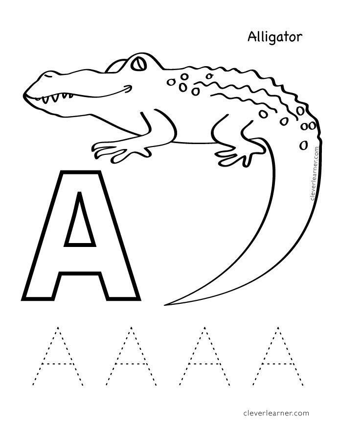 Letter A Is For Alligator Coloring Sheet