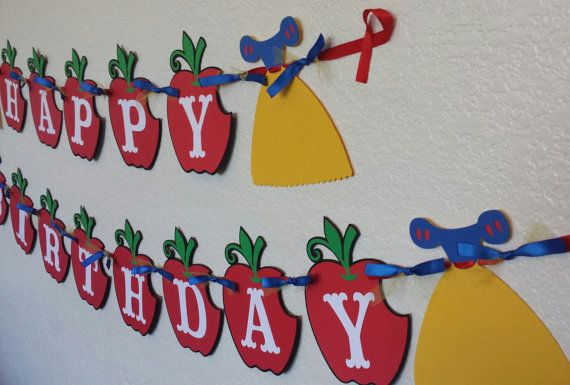 Snow white Banner Birthday Party Banner Snow by CnCpartycreations