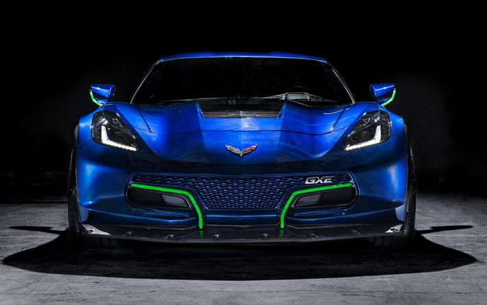 Download wallpapers Chevrolet Corvette Grand Sport, 4k, Genovation GXE, 2018 cars, electric cars, supercars, Chevrolet Corvette, tuning, Chevrolet