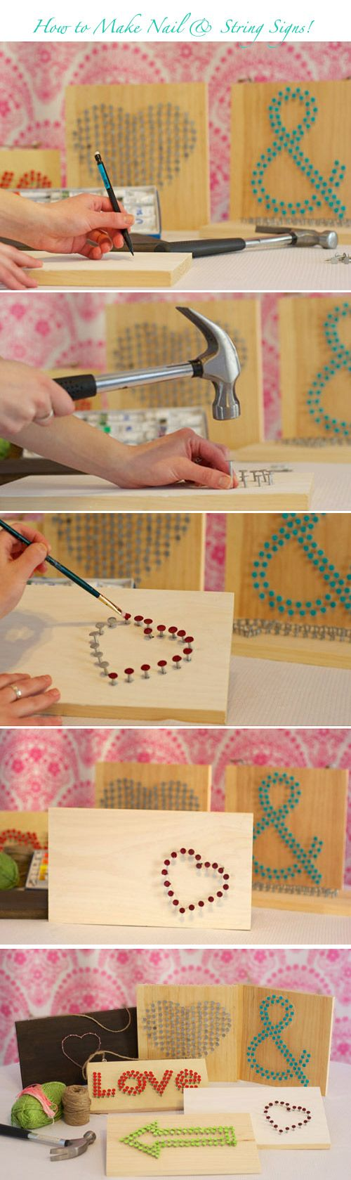 Click here for a DIY tutorial for making custom nail and string art wedding signs!  http://www.weddingwindow.com/blog/2012/05/21/diy-string-nail-wedding-signs/