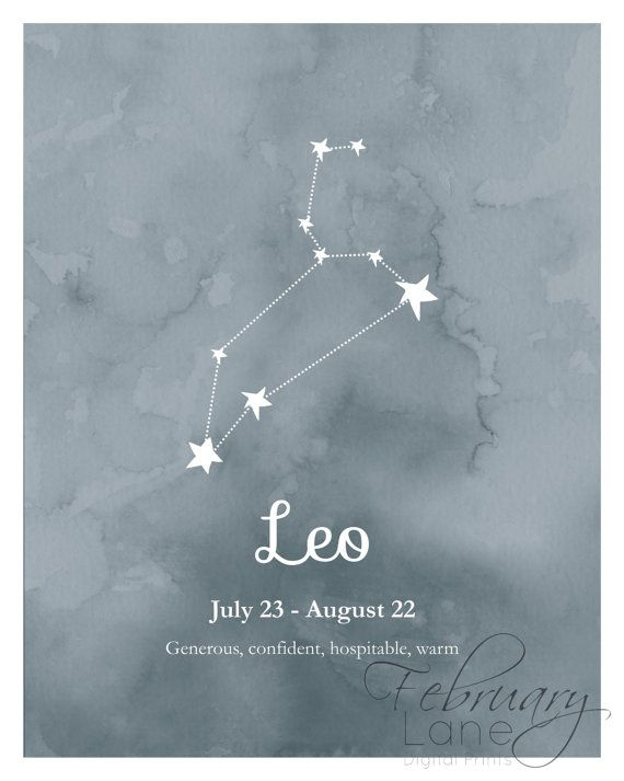 Leo Zodiac Constellation Wall Art Printable 8x10 by FebruaryLane                                                                                                                                                                                 Mais