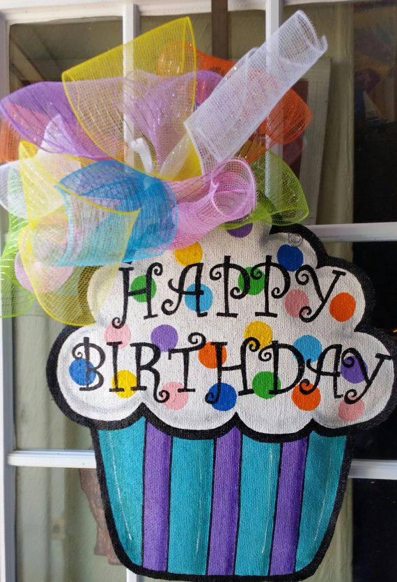 office birthday decoration.  office cupcake burlap door hanger happy birthday decoration  large size and office decoration