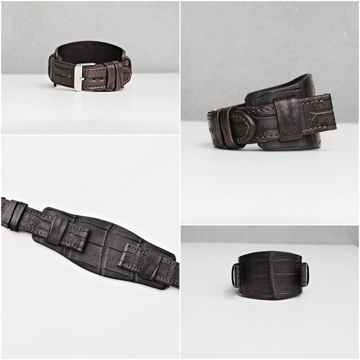 20mm 2 in 1 Alligator Dark Brown Wide Watch Strap - Handmade, Adjustable, Ready to Ship, Fits Omega, Breitling, Seiko, Panerai Watches, Etc. by ChristianStraps on Etsy