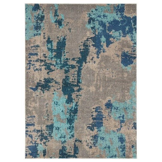 Contemporary Area Rugs Maynard Gray/Blue Large Rug by Signature Design by Ashley