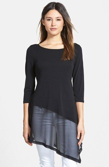 Eileen Fisher Scoop Neck Silk Tee with Sheer Border (Online Only) available at #Nordstrom
