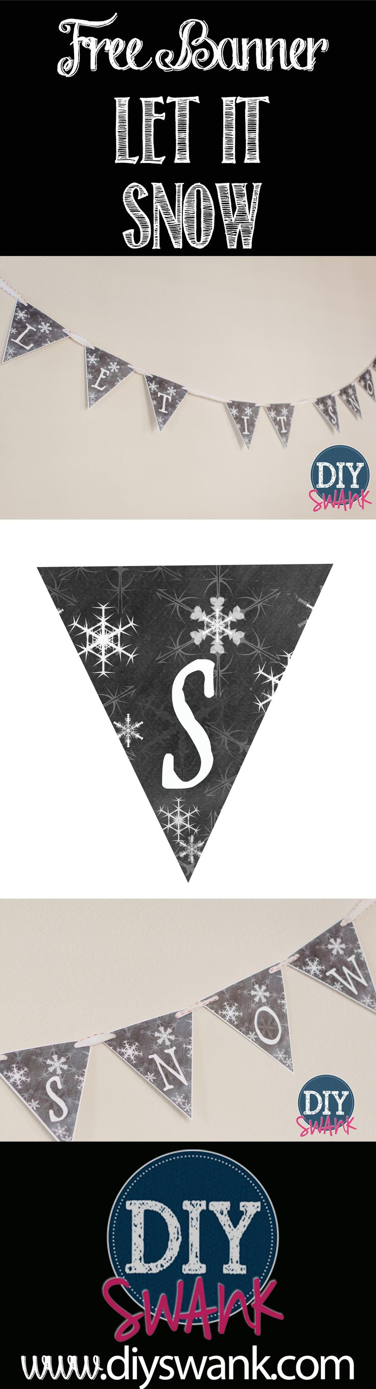 "Free Printable ""Let It Snow"" banner"