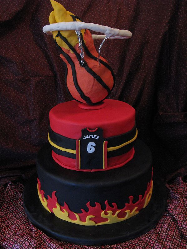 Miami Heat Birthday Cake…Dislike the Heat but my son is a huge fan!! He would love this cake.