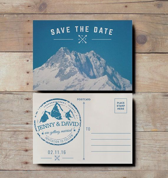 A retro snowy mountain save the date postcard.    Great for skiing weddings! http://katiebarnesstudio.etsy.com/