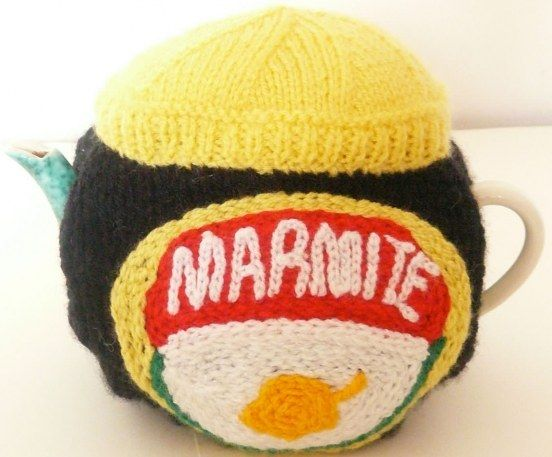 Hand knitted Marmite tea cosy | Fantastic Supermarket