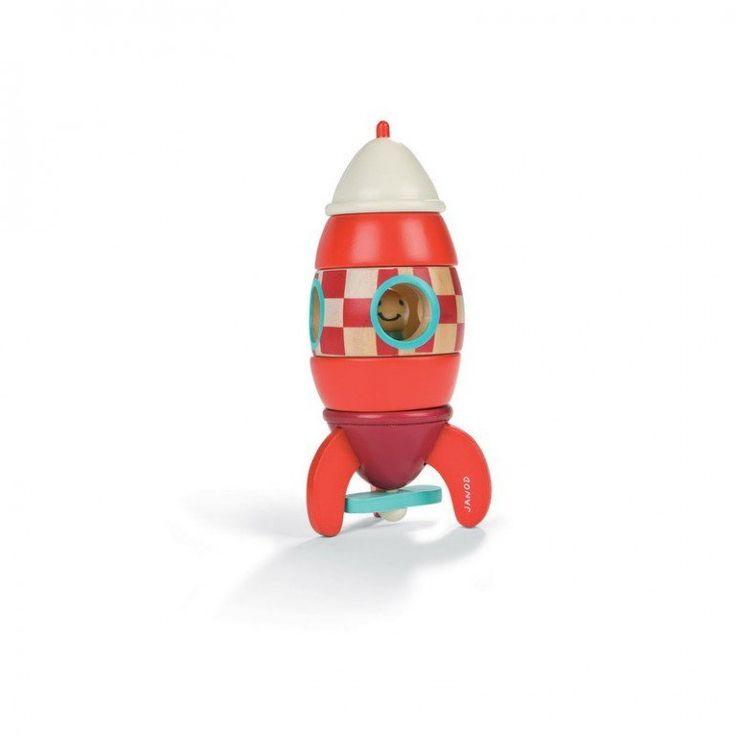 Janod rumraket lille - Janod raket er 16 cm høj og lavet i træ, og er i 6 dele med magneter (169kr)