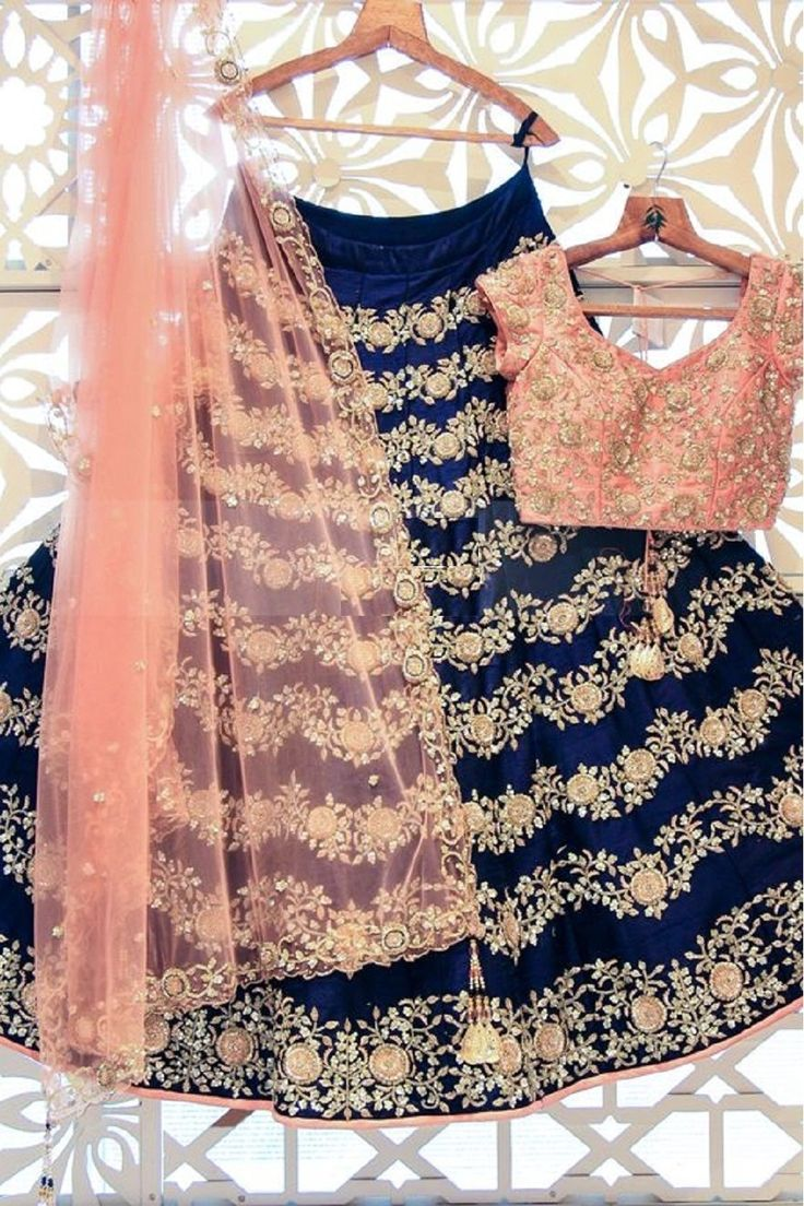 Blue And Peach Poly Silk Machine Work Semi Stitched Lehenga