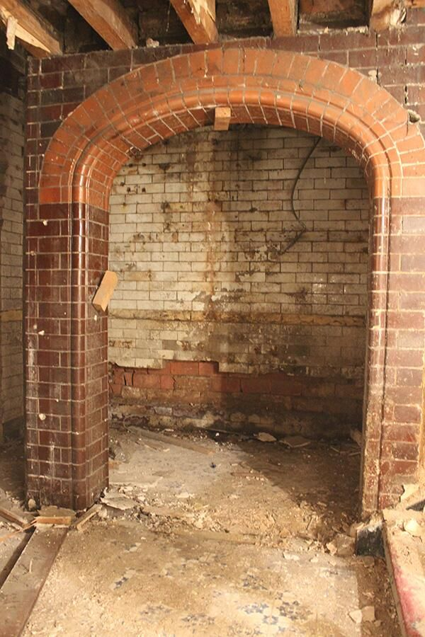 Victorian Glazed archway, uncovered at the Malt Cross during renovation in 2014