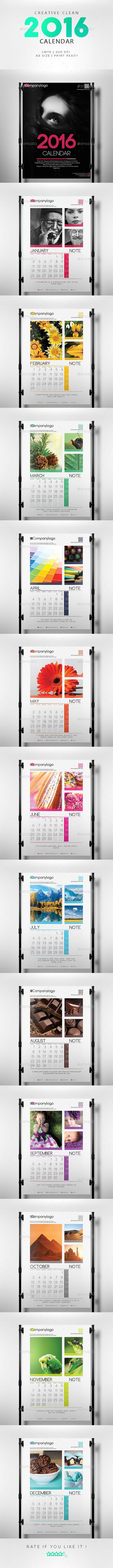 Clean 2016 Calendar