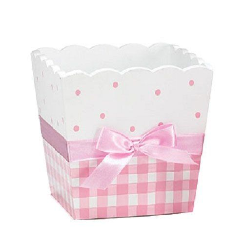 This darling pink and white hand painted wood pot with a satin ribbon is the perfect centerpiece for your next sweet event. Combine it with our wide range of ba