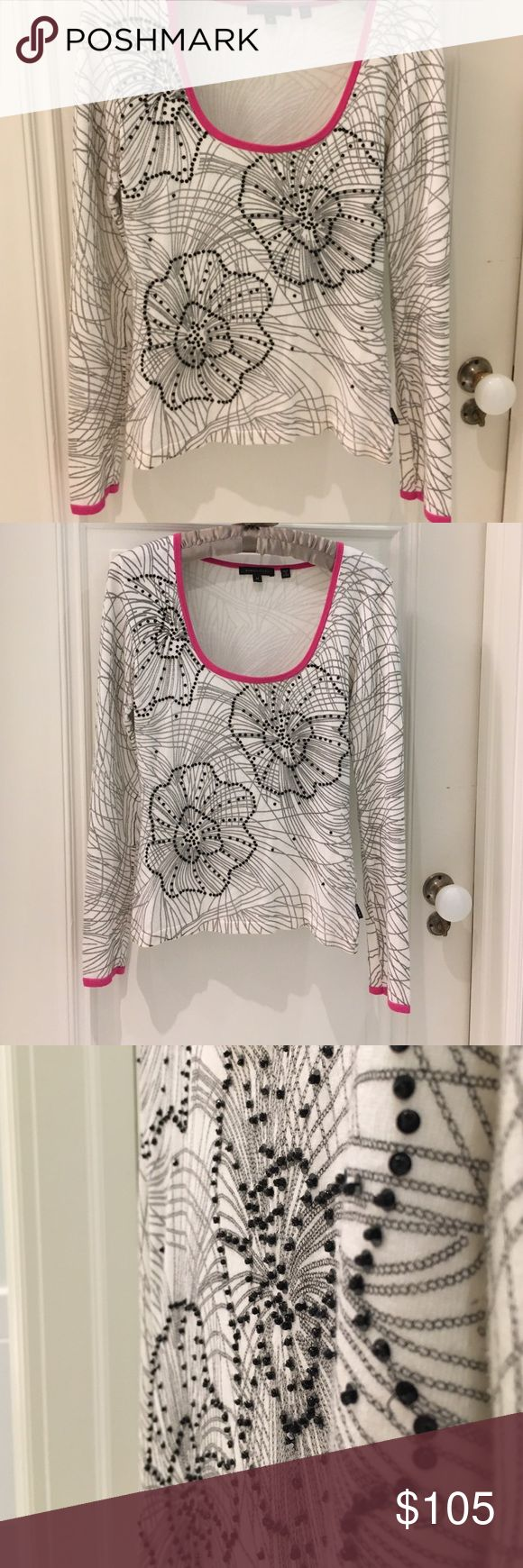 """🆕 BCBGMaxAzria beaded knit Henley top 🎁Offers encouraged & flexible                                                                                🔑Bundle to save 15%                                                                                                   👍Like for price drop notifications                                     EUG, no stains spots or loose threads. Length from neck to hem ~15"""", sleeve ~21.25"""", breast ~14"""". BCBGMaxAzria Tops Tees - Long Sleeve"""