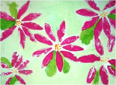 Sponge painting with tempera Try this Wallpaper Effect
