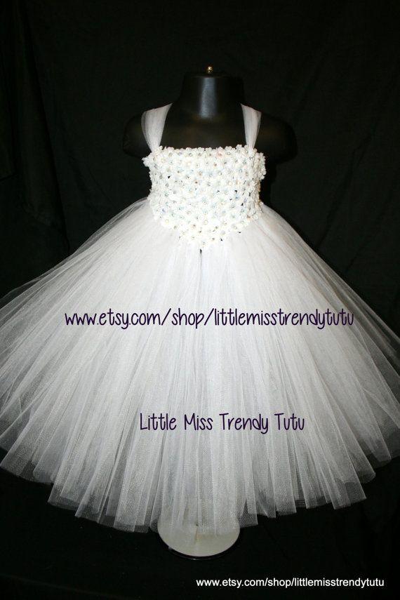 White Tutu Dress with Small White Flowers by LittleMissTrendyTutu