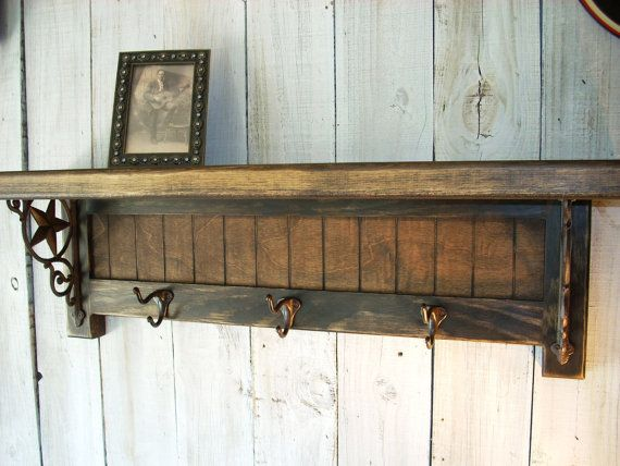 Western Coat Rack Shelf Handmade Furniture by Nottooshabbyshelves,