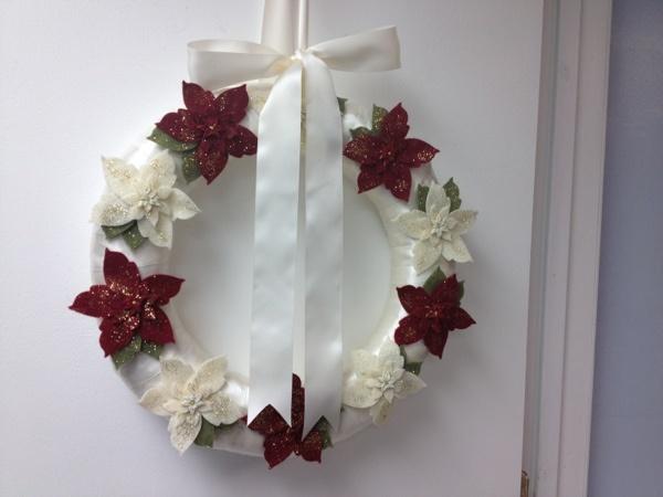 Christmas wreath felt ribbon buttons poinsettia flowers etsy pairofpetals: Poinsettia Flowers, Flowers Etsy