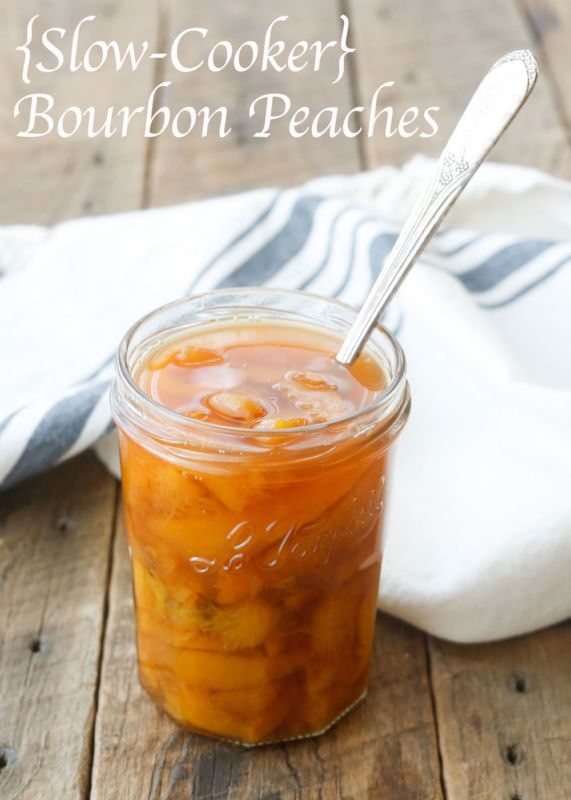 {Slow-Cooker} Bourbon Peaches are made with frozen peaches for an EASY holiday dessert that no one can resist. Less than 5 minutes work and the saucy peaches taste even better than fresh! - get the recipe at barefeetinthekitchen.com